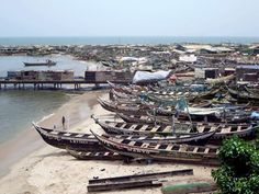 The Jamestown district of Accra, Ghana, contains a large fishing harbour used by the local Ga population. Capital Of Ghana, Accra, West Africa, The Locals, Opera House, Fishing, Building, Travel, Viajes