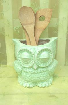 Ceramic Owl Canister Or Planter Home Decor By Angelheartdesigns, $55.00