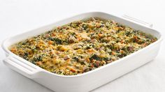 Try this Healthified Spinach and Rice Casserole. Give a favorite casserole a makeover using brown rice for whole-grain benefits.   Featuring canned cream of mushroom soup.