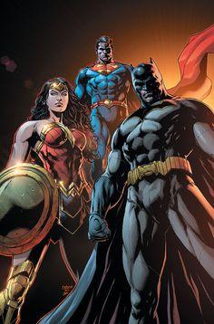 Wonder Woman, Superman & Batman (Trinity variant cover) Art by Jason Fabok Marvel Dc Comics, Dc Comics Superheroes, Dc Comics Characters, Dc Comics Art, Rogue Comics, Comic Art, Comic Manga, Batman Wonder Woman, Dc Heroes