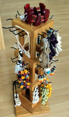 Spinning wooden Jewelry Display... looks it's made with a  recycled jenga game....