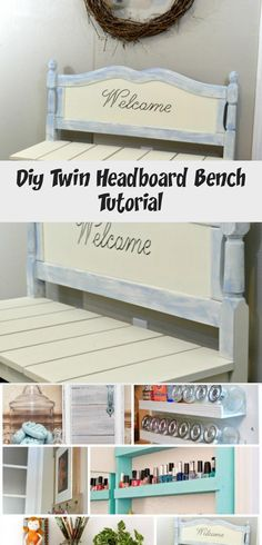 DIY twin headboard bench tutorial with basket storage H2OBungalow.com #powertoolchallengeteam #organizewithpowertools #diywoodbenchWedding #diywoodbenchEasy #diywoodbenchWithBack #diywoodbenchOutdoor #diywoodbenchPlans Wood Bench Plans, Diy Wood Bench, Bench With Back, Twin Headboard, Basket Storage, Woodworking Projects, Twins, Furniture, Home Decor