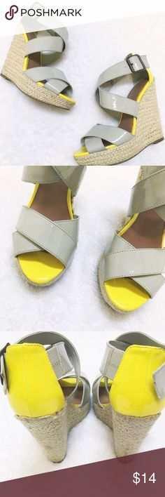 Grey Patent Leather Wedges  These are super cute wedges with a pop of hot color! Wedge is approx one inch in the front and inclined to five inches at the back. Enjoy! Happy Poshing! Shoes Wedges