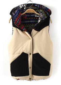 Corduroy Color Blocking Vest