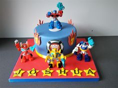 Transformers birthday cake with Rescue Bots