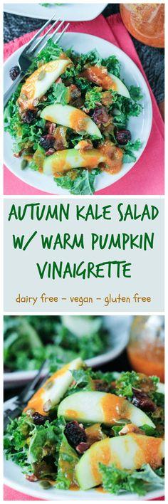 Autumn Kale Salad w/ Warm Pumpkin Vinaigrette - vegan