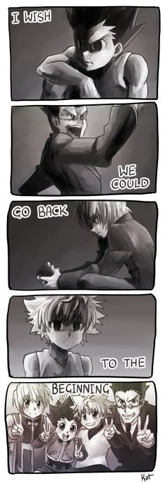 The beginning... Gon, Leorio, Kurapika and Killua. The friendship... This is an adorable picture. ;')