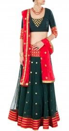 Bottle green embroidered lehenga set- perniaspopupshop.com