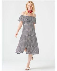 Dilvin - Dilvin 596 Çizgili Düşük Omuz Elbise