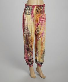 Love this Orange & Pink Tie-Dye Harem Pants - Women by Violet Del Mar on Hippie Pants, Orange Pink, Parachute Pants, Harem Pants, Tie Dye, Chiffon, Tea, Future, House