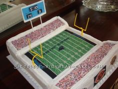 This  Football Stadium cake is made from the 2 9 x 13 white almond sour cream recipes.  The field is one cake.  The stands are the other cake cut...