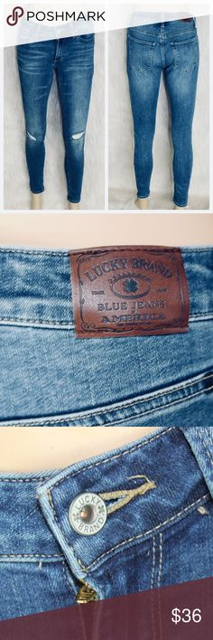 """Lucky Brand Sasha Super Skinny Jeans EUC Blue Denim Excellent used condition  Distressed style 36""""L 28.5 Inseam Size 2/26  Offers are welcome  No Trade   Thank you very much Lucky Brand Jeans Skinny"""