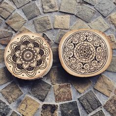 Yoga-inspired Handmade Woodburned Mandala wall art