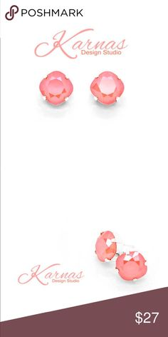 """Light Coral 12mm Crystal Stud or Post Earrings Karnas Design Studio genuine Swarovski crystal cushion cut studs. We pride ourselves as leading the way in creativity when it comes to crystal jewelry. All of our pieces are on-of-kind and designed by KDS. GOOGLE US! 12mm or .47"""" in size. Showing the Shiny/Sterling finish in the photos. Nickel free and hypoallergenic. Brass base dipped in coating such as 24k and 925 sterling. You'll love our packaging! 10% off on bundles and daily shipping…"""