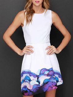 White Sleeveless Tie Dye High Waist Asymmetric Hem Dress