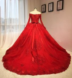 Ball Gown Red Lace Wedding Dress,Sexy Off Shoulder Long Sleeves Bridal Dress