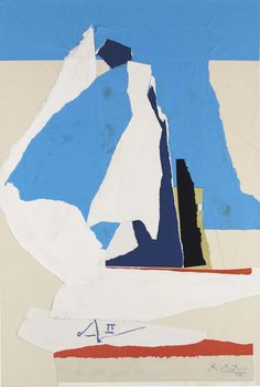 """ Robert Motherwell (1915-1991) Australia II (1983) acrylic on paper collage on board laid down on board 120.6 x 81.2 cm """