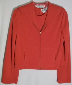 CARLISLE Red 53% Cotton Twinset - Cardigan-Front Zipper - Matching Top - Small #Carlisle #Twinset #sweater #top #red #cotton #sweaterset #set #small
