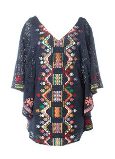 Judith March Navy Crochet Batwing Dress with Embroidery (Navy)