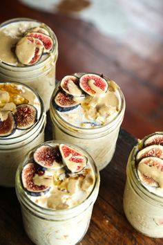 Overnight oats are an easy breakfast recipe for those who are always on-the-go. This overnight oat recipe features maple and figs.