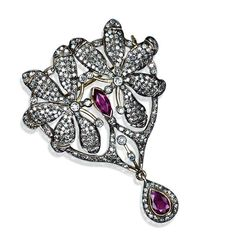 Diamantbrosche Edelsteine Goldbrosche Mit Rubin Safir Saphir Smaragd 750 Gold Novel In Design;
