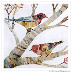 Colorful Birds in Tree Branches, Giclee Art, Print on Paper, Zigzag Pattern -- The Warblers print by Dolan Geiman Paper Collage Art, Paper Art, Art And Illustration, Art Illustrations, Dolan Geiman, Vogel Quilt, Bird Quilt, Kunst Poster, Colorful Birds