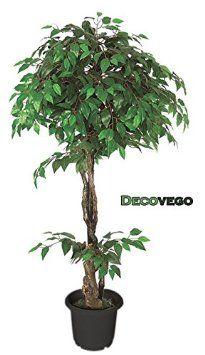 Ficus Benjamin abeduies e higo y de árbol artificial planta artificial decorativa con madera 160 cm Decovego