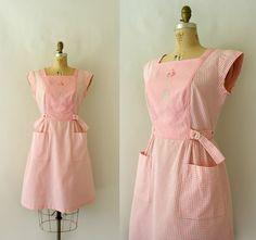 1950s Vintage Dress - 50s SWIRL Pink Gingham Wrap Dress - A Single Rose on Etsy, £72.28