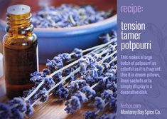 [ DIY: Potpurri Recipe - Tension Tamer ] Using lavender, lemon verbena, chamomile, hibiscus, mint, and rosemary. ~ from MB Spice Co
