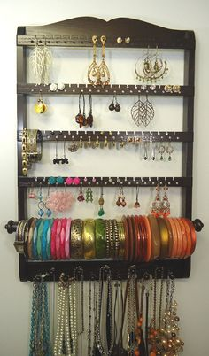 Bangle Bracelet Jewelry Holder, Holds up to 144 Pairs of Earrings, Wood Necklace Organizer Pegs, Solid Oak Hardwood, Cocoa Brown, Wall Mount