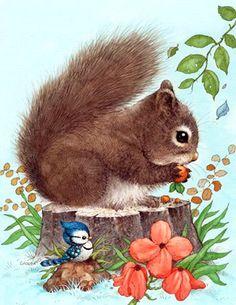 Beautiful illustrations of cute animals Animals And Pets, Baby Animals, Cute Animals, Woodland Creatures, Woodland Animals, Cute Animal Illustration, Illustration Art, Squirrel Illustration, Cute Drawings