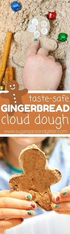 Gingerbread Cloud Dough - an edible sensory bin for kids inspired by the Gingerbread Man (or Gingerbread Baby). Our newest winter sensory bin