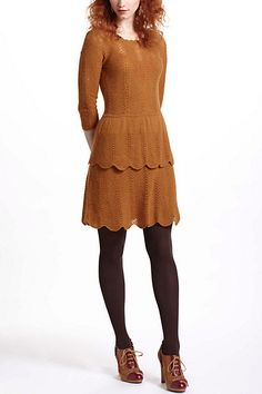 i'd like this if it were in a different color   Tiered Pointelle Sweater Dress #anthropologie