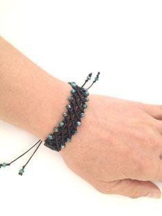 Black #macrame #bracelet gift for her green beads by morenamacrame
