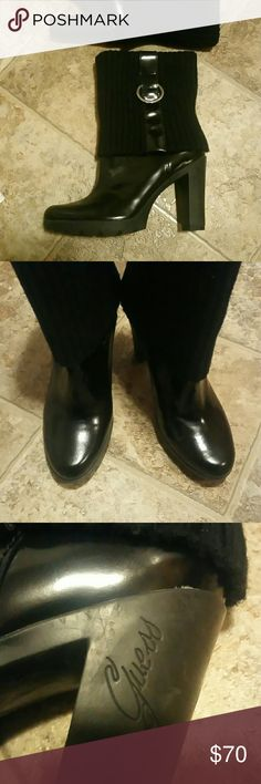 """Black Patent Leather Boots"" Hard rubber ridges on the bottom which allow for a sure comfortable step.  Sweater material on top that folds down with a patent leather strip down each side & a silver embossed Guess buckle. NEVER WORN!!# Guess Shoes Heeled Boots"