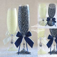 Ivory & Navy LACE Wedding champagne glasses/ от RomanticArtGlass