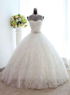 Vintage Beading Top Neck Lace Ball Gown Wedding Dress