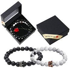 Onshine Couples Bracelets 2 Pack Lava Stone Diffuser Bracelets Stretch Beaded Bracelet Valentine's Day Gift for Couples Unique Romantic Gifts, Essential Oils For Anxiety, Lava Bracelet, Couple Bracelets, Valentines Gifts For Her, Gifts For My Boyfriend, Wedding Bracelet, Couple Gifts, Beaded Bracelets