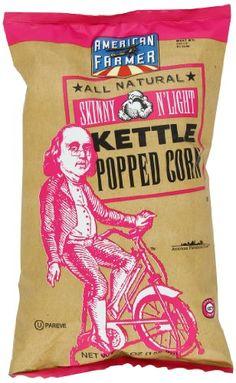 American Farmer Skinny n'Light Kettle Popped Corn. Patriotic #packaging PD