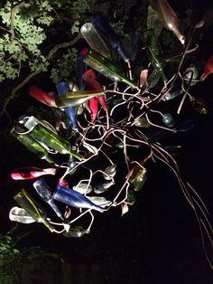 9' Custom Bottle Tree, Jonesboro, AR. 2012        Uplighting is key for nighttime display and impact. www.stephaniedwyer.com Bottle Trees, Custom Bottles, Tree Lighting, Tree Art, Xmas Tree, Night Time, Projects To Try, Display, Key