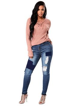 25770b98fa19b Blue Patched Ripped Skinny Jeans for Ladies Ripped Skinny Jeans