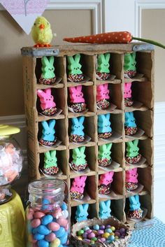 Enchanting Easter Party; esp. like these chocolate dipped bunny peeps