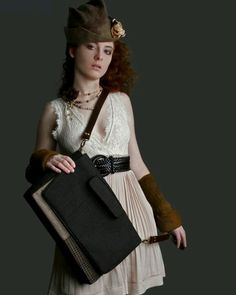 Upcycled lap top bag Impressionso Felt, Hat and cuffs by Horst Couture
