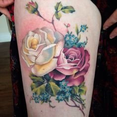 Botanical roses and forget me nots. Roses fresh, the rest is healed.
