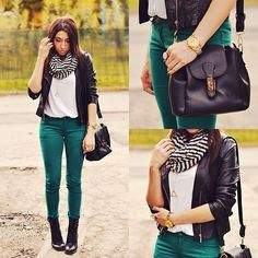 45 Ideas how to wear green pants teal Teal Pants Outfit, Fall Winter Outfits, Autumn Winter Fashion, Hunter Green Pants, Teal Jeans, Winter Stil, Colored Pants, Mode Outfits, Teal