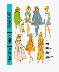 Vintage McCall's pattern number 9099 for Barbie, Francie, Midge, Tammy, Casey and Similar Sized Dolls