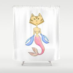 Mer Kitty Shower Curtain by Dan Paul Roberts - $68.00