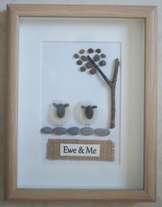 This is a beautiful small Pebble Art framed Picture of a Family - Ewe & Me  handmade by myself using Pebbles, Driftwood and Needle Felted Merino Wool  Size of Picture incl Frame : approx. 22cm x 17cm  Thanks for looking Doris