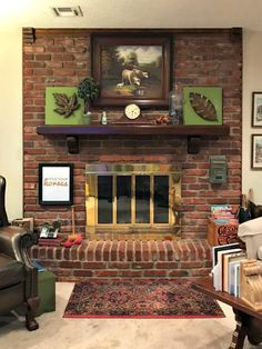 9 Simple and Ridiculous Tricks: Fireplace Ideas Mantels double sided fireplace fixer upper.Fireplace Surround With Tv Above rustic corner fireplace.Wood Fireplace Tiny Homes. Fireplace Remodel, Updating House, White Wash Brick, Small Fireplace, Wood Fireplace, Brick Fireplace Makeover, Red Brick Fireplaces, Fireplace, Diy Fireplace
