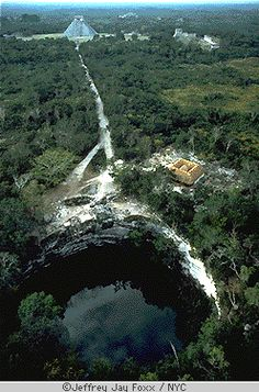 Chichen Itza, Mayan ruins in Yucatan, Mexico...  They used to sacrifice virgins by throwing them into this hole. (according to the tour guide)
